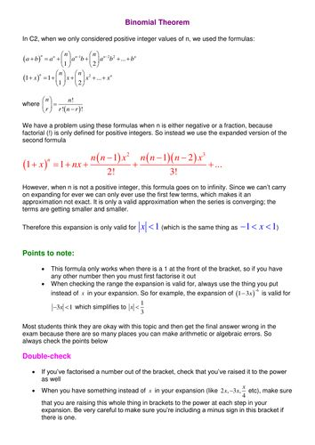 Worksheets Binomial Theorem Worksheet 1000 ideas about binomial theorem on pinterest trigonometry notes and examples doc