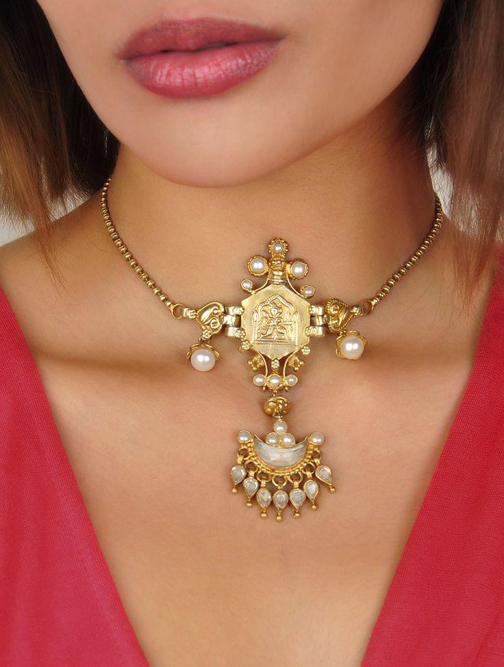 Buy Golden & White Beguile Zircon Pearls 92.5% silver Online at Jaypore.com