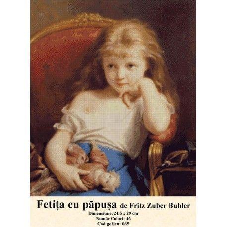 Goblen set de vanzare Fetita cu papusa de Fritz Zuber Buhler http://set-goblen.ro/portrete/3715-fetita-cu-papusa-de-fritz-zuber-buhler.html