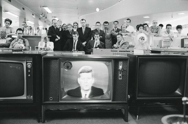 Customers in the electronics section of a department store watch as JFK addresses the nation, October 22, 1962. Ralph Crane/Time-Life Pictures/Getty