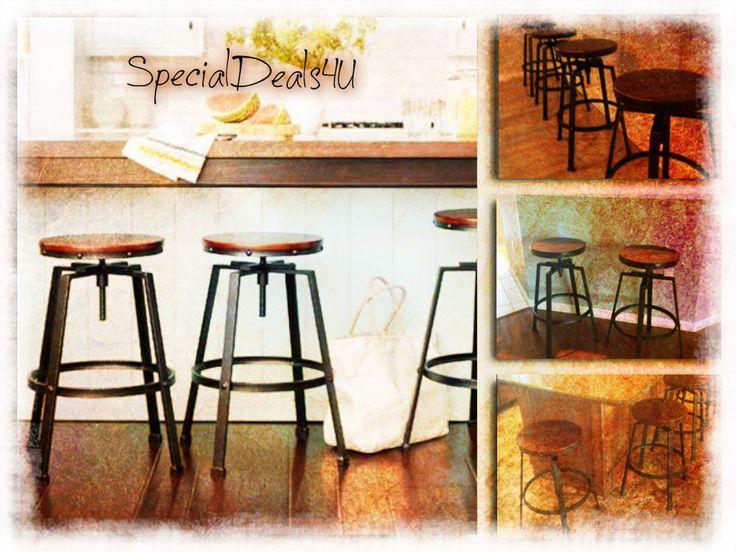 Swivel Bar Stool Wood Metal Industrial Rustic Chair Adjustable Black Modern Pub #New #ModernRusticIndustrial