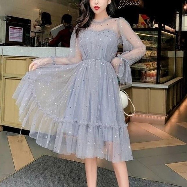 College Vintage Clothing 2021 Fashion Dress Party Grey Party Dresses Korean Fashion Dress
