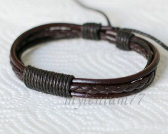 239 Men's brown leather bracelet Leather cords bracelet Cotton ropes bracelet Braided bracelet Fashion jewelry Birthday gift For men & women