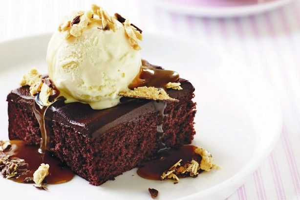 Chocolate cake with caramel and honeycomb sauce
