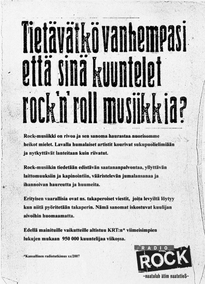 Tietävätko vanhempasi että kuuntelet Rock 'n' Roll musiikkia?