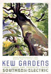 Kew Gardens. Vintage SR Travel Poster by Rojan