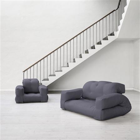 Futón-sofá Hippo color gris, 140 x 200 cm
