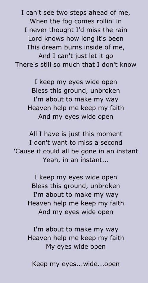 Open the eyes lyrics