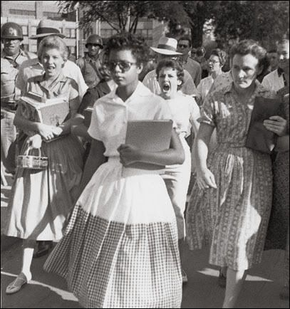 Hazel Bryant [1957]    It was the fourth school year since segregation had been outlawed by the Supreme Court. Things were not going well, and some southerners accused the national press of distorting matters. This picture, however, gave irrefutable testimony, as Elizabeth Eckford strides through a gantlet of white students, including Hazel Bryant (mouth open the widest), on her way to Little Rock's Central High.: History, Student, Little Rocks, Africans American, Elizabeth Eckford, Civil Rights Movement, High Schools, American Girls, Central High