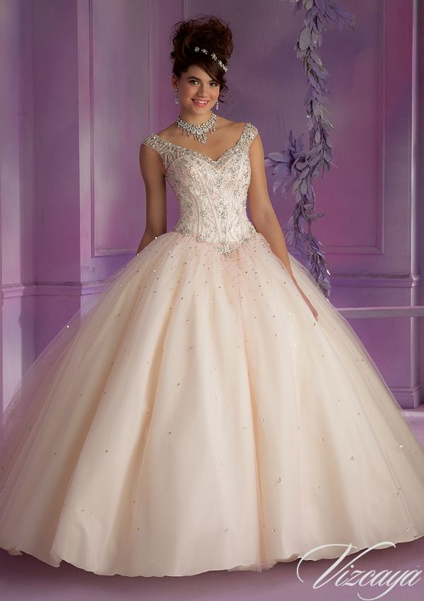Quinceanera Dress From Vizcaya By Mori Lee Dress Style 89006 Layered Tulle Quinceanera Gown with Embroidery and Beading
