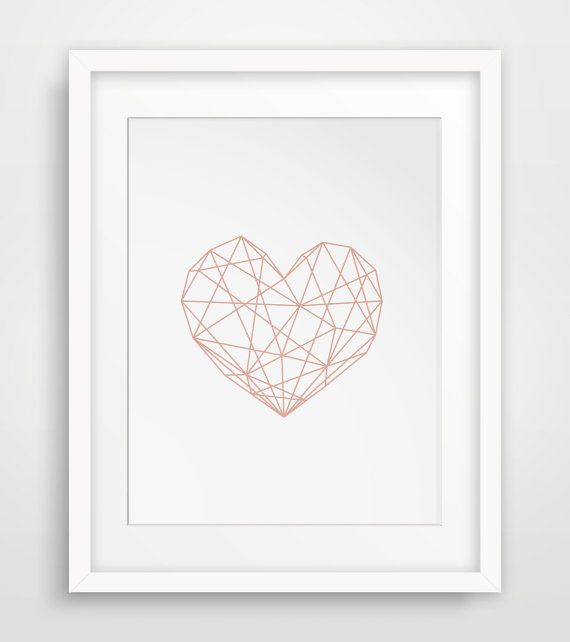 Pink Heart Geometric Poster Geometric Heart by MelindaWoodDesigns #nurseryart