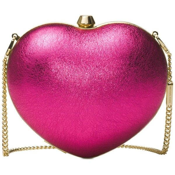 Michael Michael Kors Pearlized Small Heart Box Clutch ($148) ❤ liked on Polyvore featuring bags, handbags, clutches, ultra pink, leather clutches, box clutch, pink purse, hard clutch and michael kors clutches
