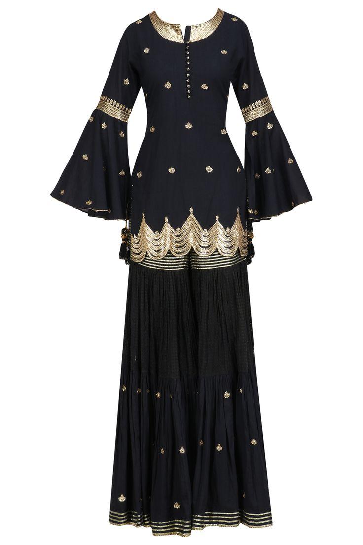 Black gota patti work kurta and sharara set available only at Pernia's Pop Up Shop.