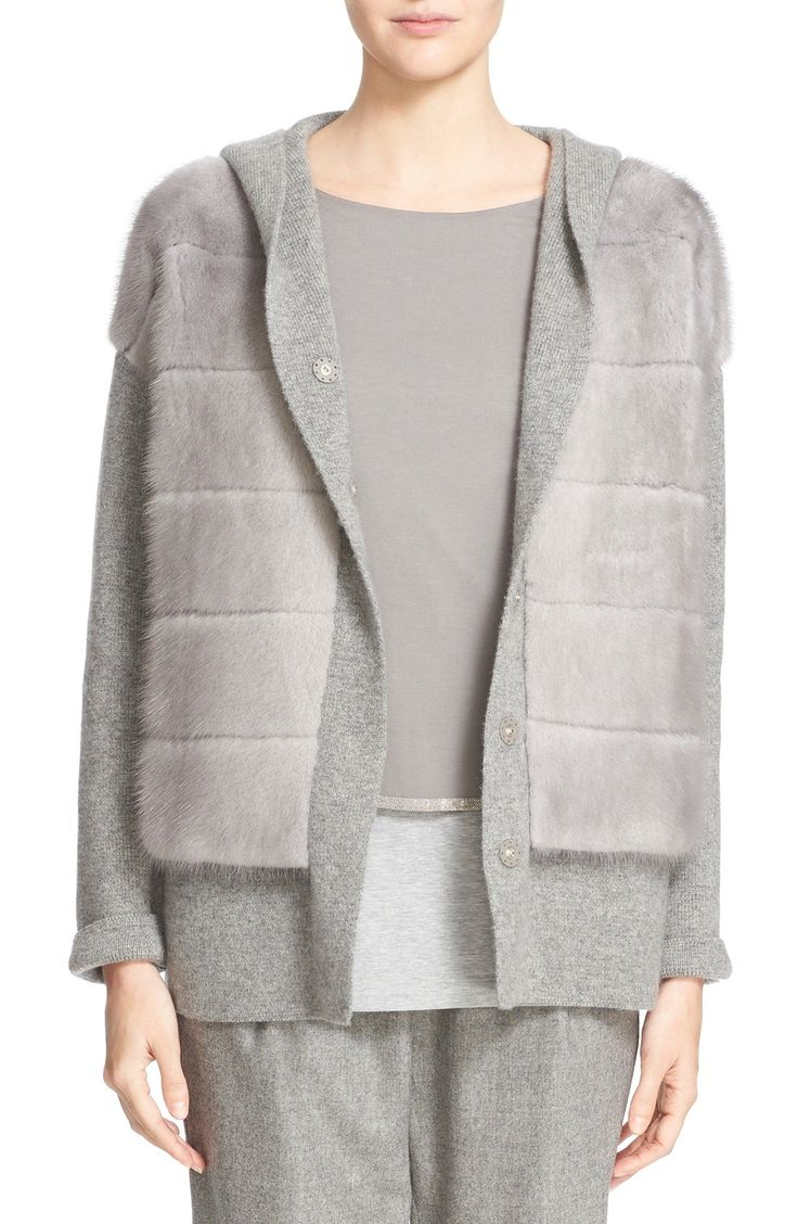 Fabiana Filippi Hooded Cashmere Sweater with Genuine Mink Fur Overlay available at #Nordstrom