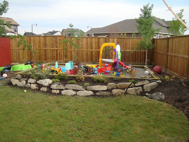 Kids backyard play area, that way hubby doesn't have to move all the big toys around the yard just to mow the grass.