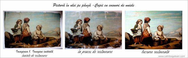 Restaurare pictură restaurare picturi: Copii cu coșuri de nuiele