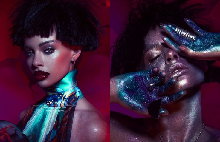 Make up artist Ido Raphael and stylist Izzy Ruiz combine a tantalising mixture of deep hues, glossy metallics and opalescent glitter in this Schön! online beauty editorial.