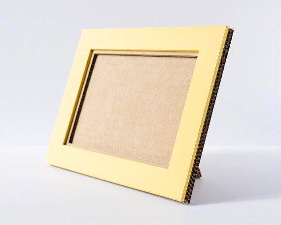 5x7 Cardboard Picture Frame, Large Picture Frame, Yellow Photo Frame, Paper Photo Frame, Table Picture Frame, Wall Picture Frame