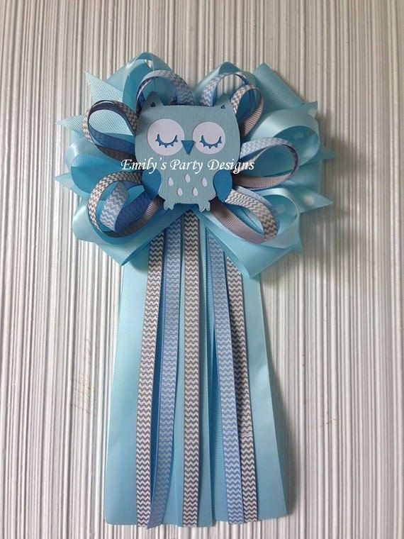 Baby Blue Owl Mommy To Be Baby Shower Corsage, Owl Corsage, Mommy To Be  Corsage