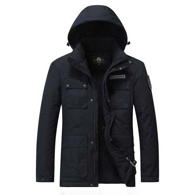 New Men Thick Warm Winter Jackets Cotton Casual Emboridery Military Coats Hooded Parkas Waterproof Snow Overcoats Khaki