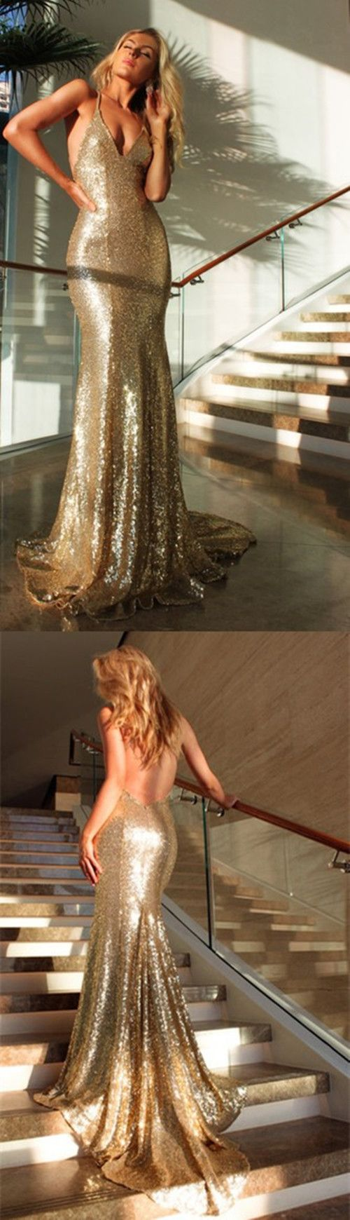 evening dresses,sexy back evening dresses,gold sequins prom dresses,prom dresses for teens,long cheap prom dresses,sexy mermaid evening dresses,spaghetti straps prom dresses,
