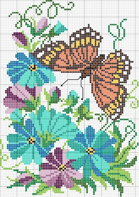 butterfly flowers cross stitch