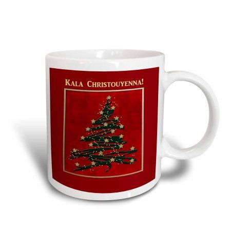 3dRose Kala Christouyenna, Merry Christmas in Greek, Christmas Tree on Red , Ceramic Mug, 15-ounce