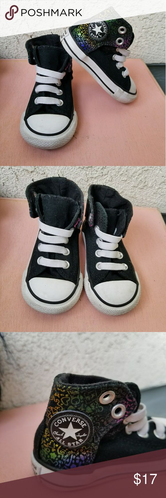 Girls Converse High Top Shoes Toddler Girls Black and white converse shoes with cool designs on the sides as pictured above. Good condition. Size 5. Converse Shoes Sneakers