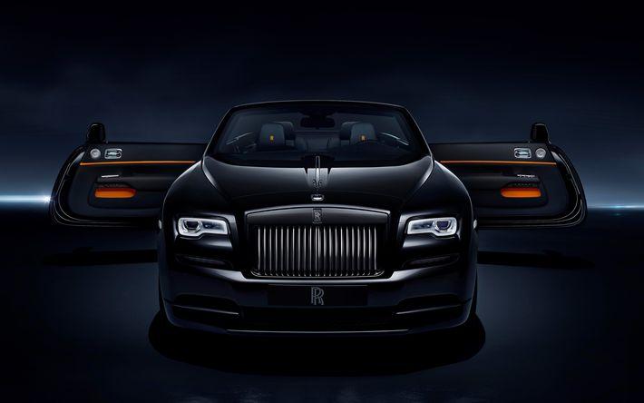 Descargar fondos de pantalla Rolls-Royce Amanecer, Negro Insignia de 2017, 4k, de lujo negro cabriolet, inglés coches, coches de lujo, Rolls-Royce