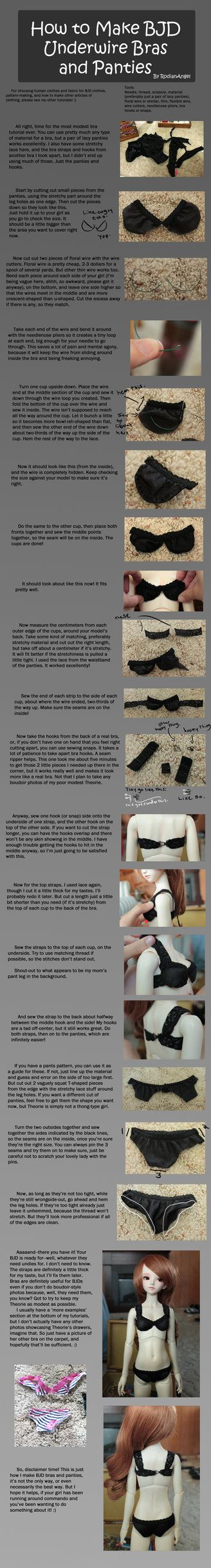 How to Make BJD Underwire Bras and Panties by ~RodianAngel on deviantART