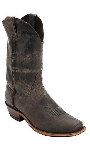 Justin Bent Rail Mens Chocolate Road Map Chip Toe Western Boots
