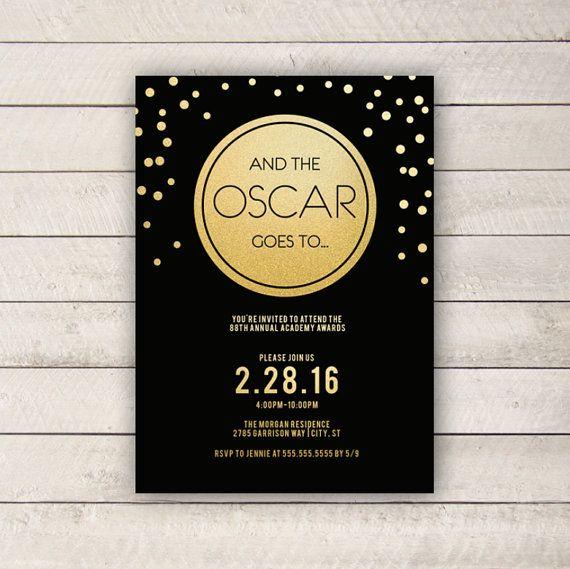 Oscar Invitation, DIGITAL, 2016 Oscar Invitation, Oscar Party, Black and gold Oscar Party, Oscars Invite