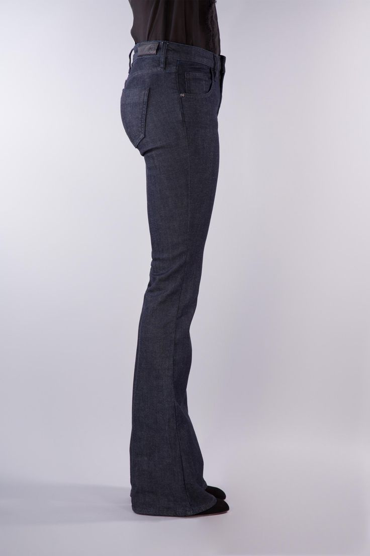 FLARE   JAPANESE DENIM   ONEDENIM  This dark flare jean promotes flattery and elongates the legs, bringing a classic design to modern ages. Premium denim is used in its creation from the best denim mills ONE DENIM could source.