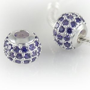 Beautiful Silver Charm Bead with Lavender Crystals - Genuine 925 Sterling Silver 5mm Core - fits most European bracelets including Pandora, Lovelinks, Biagi and Chamilia