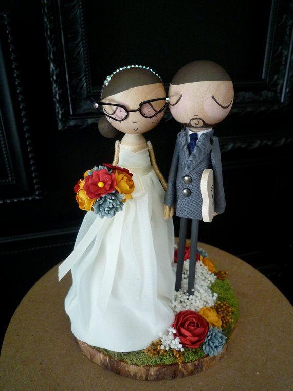 Wedding Cake Topper with Custom Wedding Dress - Custom Keepsake by MilkTea on Etsy, $190.00