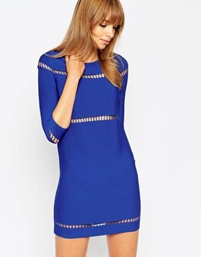 house shoes in spanish ASOS A Line Dress in Structured Knit with Ladder Stitch Detail