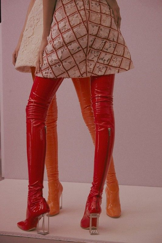 Christian Dior Haute Couture SS15 Red Zip Tight Boots