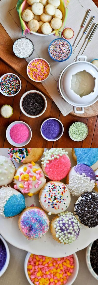 So pretty and so delicious, this Cupcake Fondue recipe from How Sweet Eats will be a huge hit at your next birthday party! Guests will love customizing their dessert with icing and sprinkles.