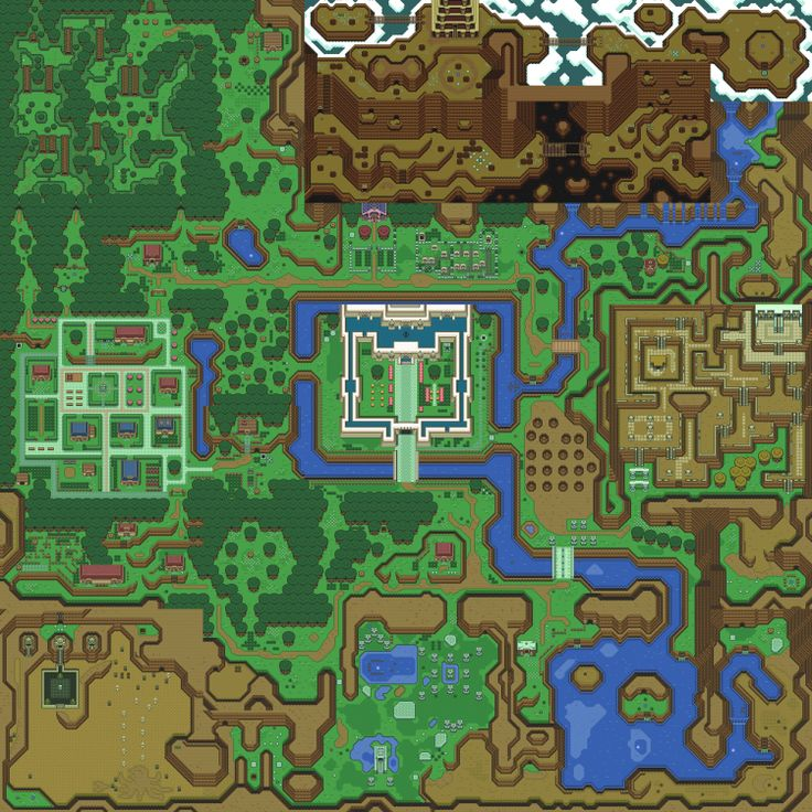 Hyrule/Light World world map from The Legend of #Zelda: A Link to the Past (SNES) silk poster, via Etsy.