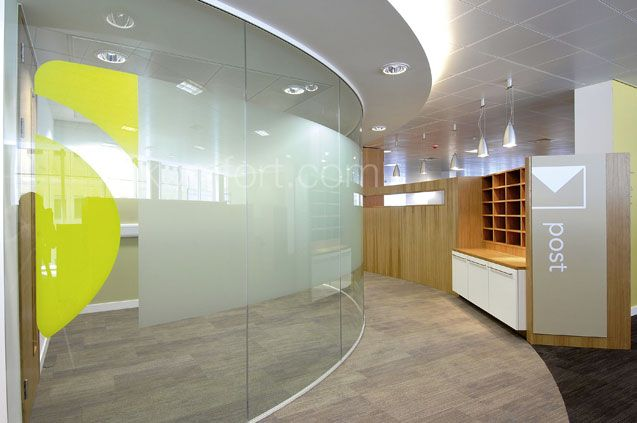 Komfort curved glass office wall office ideas pinterest glass office partitions office Interior glass partition systems
