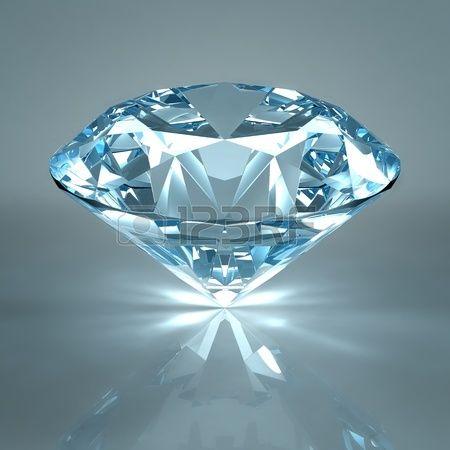 ダイヤモンド宝石は明るい青の背景に分離されました。光の反射面の上の美しいキラキラ輝くダイヤモンド。高品質高ダイナミック レンジ照明とレイトレース テクスチャと 3 d のレンダリング。 写真素材