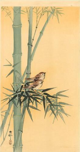Ohara Koson (1877-1945) | Sparrows on bamboo tree