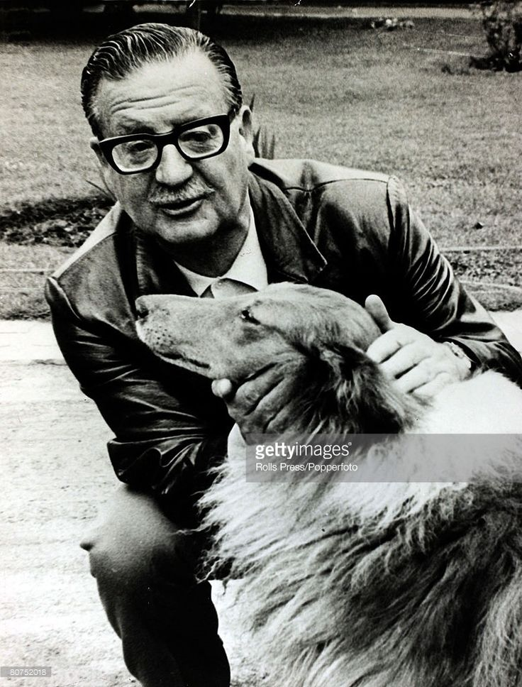 December 1970, Chilean President Salvador Allende pictured with his pet collie dog. Salvador Allende, (1908-1973) was a left wing politician and President of Chile, 1970-1973, when a CIA backed coup removed him from power.