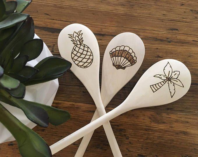 Beach Spoons, Woodburned Spoons, Tropical Spoons, Sea Shell Decor, Sea Shell Kitchen, Beach Kitchen Decor, Palm Tree Decor, Pineapple Spoon