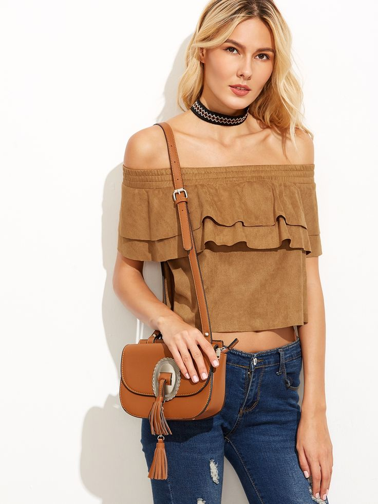 12$  Watch now - http://diuvz.justgood.pw/go.php?t=6089 - Camel Suede Off The Shoulder Layered Ruffle Top