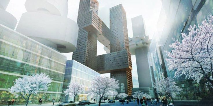 BIG architects: cross # towers, seoul, korea