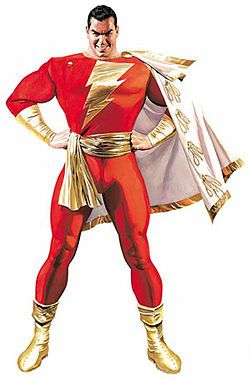 SHAZAM! The original Captain Marvel. He is totally awesome. The magic adult version of Billy Batson a good kid with a good heart....this is the worlds most powerful boy scout...equal in power to Superman just about.