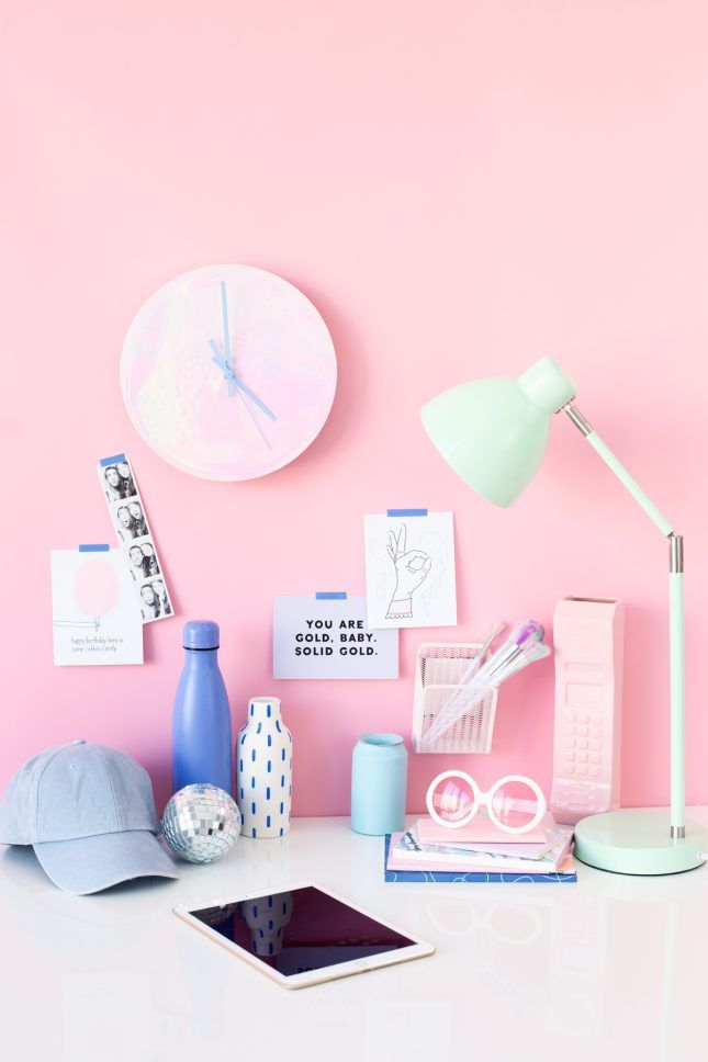 Holographic Clocks, Rainbow Letter Boards + More DIYs to Make This Weekend via Brit + Co
