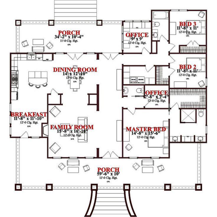 Houseplans.com Bungalow / Craftsman Main Floor Plan Plan #63-343