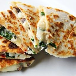 Leftover Steak and Spinach Quesadilla with Provolone  I would sub mexican queso for a more authentic taste Georgia